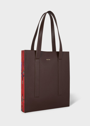 Women's Brown Leather 'Scattered Floral' 'Concertina' Tote Bag