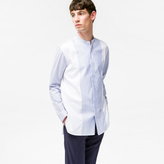 Paul Smith Men's White And Blue Contrast-Panel Band-Collar Shirt