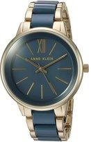 Anne Klein Women's Quartz Metal and Resin Dress Watch, Color:Blue (Model: AK/1412BLGB)
