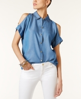 MICHAEL Michael Kors Petite Chambray Cold-Shoulder Blouse
