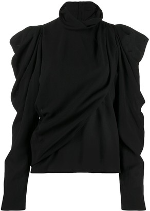 Lemaire Button-Up Draped Roll-Neck Top