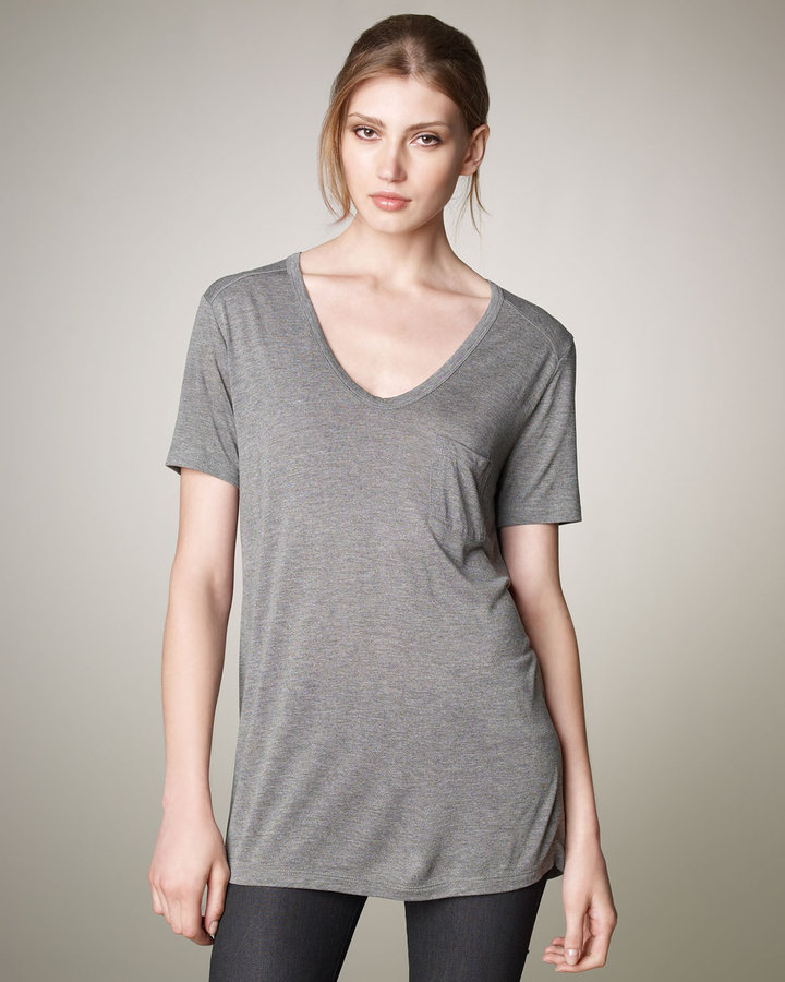 Alexander Wang V-Neck Pocket Tee, Heather Gray