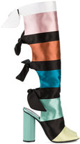Marco De Vincenzo colour block ribbon boots - women - Leather/Silk Satin - 36