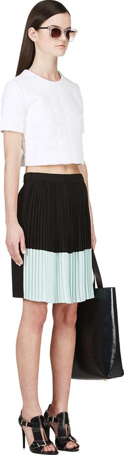 Kenzo Black & Mint Pleated Shorts