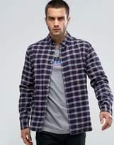 Penfield Corey Check Shirt Buttondown Flannel Regular Fit In Blue
