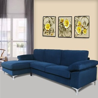 "Orren Ellis Charmant 103.5"" Left Hand Facing Reclining Sofa & Chaise Fabric: Blue"