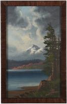 Rejuvenation Original Oil Painting of Lakeside Mountain c1940