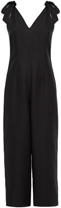 Kate Spade Mainline Cropped Bow-detailed Silk And Linen-blend Wide-leg Jumpsuit