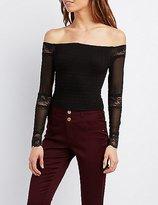 Charlotte Russe Mesh & Lace Off-The-Shoulder Crop Top