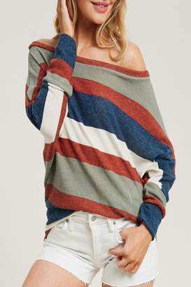 Eesome Stripe Dolman-Sleeve Top