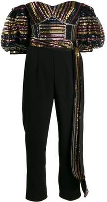 Self-Portrait metallic top jumpsuit