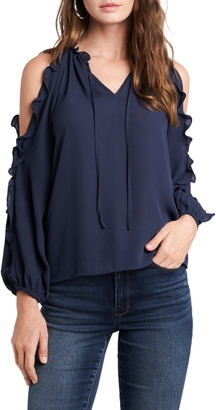 1 STATE Ruffle Trim Cold Shoulder Top