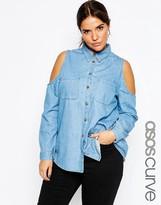 Asos Denim Shirt with Cold Shoulder in MidWash Blue