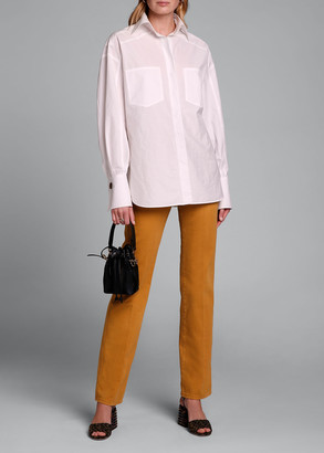 Fendi Dolman-Sleeve Cotton Blouse with Oversize Pockets