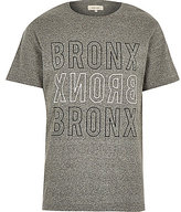 River Island MensGrey Bronx city print t-shirt
