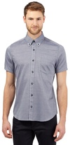 Jeff Banks Big And Tall Blue Short Sleeved Jacquard Shirt