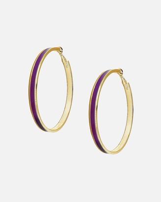 Express Tuleste Large Gold Enamel Channel Hoop Earrings