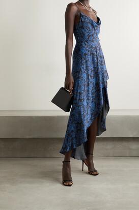 ALICE + OLIVIA - Christina Draped Floral-print Satin-twill And Voile Dress - Black