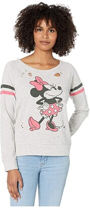 Chaser Disney(r) Minnie Mouse Minnie Bow Pullover (Heather Grey) Women's Sweatshirt