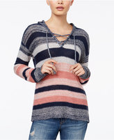 One Hart Juniors' Striped Lace-Up Hoodie, Only at Macy's