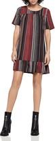 BCBGeneration Wavy Stripe Ruffle-Hem Dress