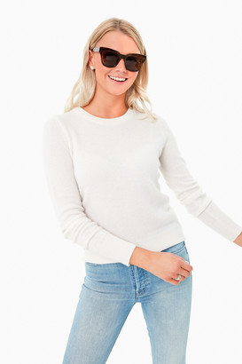 White + Warren Pearl White Long Sleeve Cashmere Crewneck Sweater