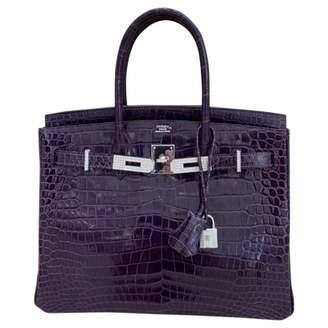 Hermes Birkin 30 Purple Crocodile Handbags