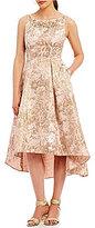 Adrianna Papell Metallic Jacquard Fit & Flare Hi-Low Dress