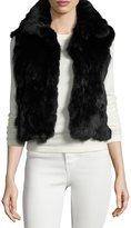 Adrienne Landau Fitted Rabbit Fur Vest, Black