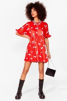Thumbnail for your product : Nasty Gal Womens Floral Ruffle Sleeve Mini Dress - Red - 8