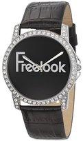 Freelook Women's HA8158-7 Swarovski Bezel Black Dial Leather Band Watch
