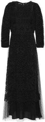 RED Valentino Point D'esprit-paneled Guipure Lace Midi Dress