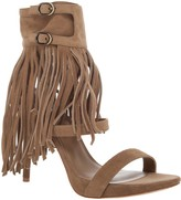 Max Studio Evi - Suede Ankle Wrap Sandals With Fringe