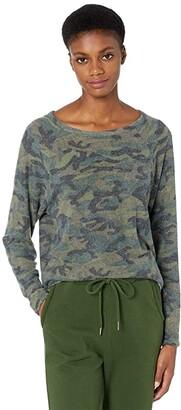 Michael Stars Annalee Print Madison Brushed Jersey Raglan Sleeve Top (Camo) Women's Clothing