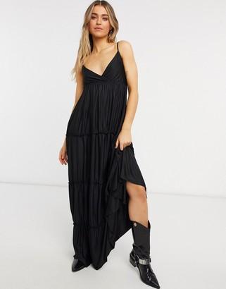 Bershka tiered maxi dress in black