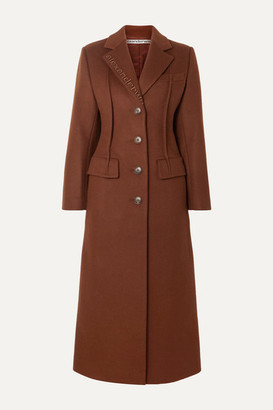 Alexander Wang Embroidered Wool-blend Felt Coat - Brown