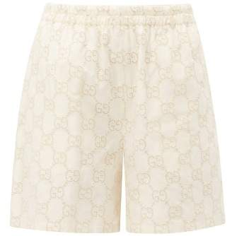 Gucci Gg Broderie Anglaise Cotton Blend Shorts - Womens - White Gold