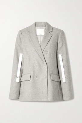 Tibi Lola Canvas-trimmed Tweed Blazer - Gray