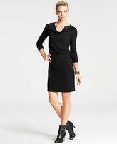 Ann Taylor Faux Leather Trim Long Sleeve Jersey Dress