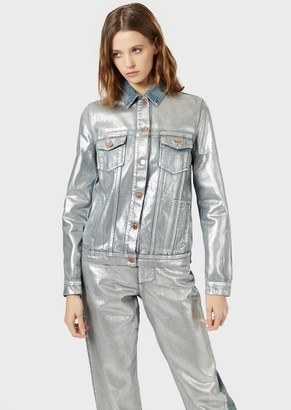 Emporio Armani Denim Jacket With Silver Coating