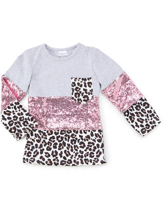Royal Gem Girls' Tee Shirts Gray - Gray & Pink Leopard Color Block Sequin Long-Sleeve Pocket Tee - Newborn