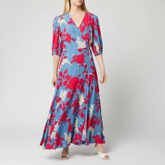 Calvin Klein Women's Print 3/4 Sleeve Wrap Maxi Dress