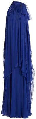 Alberta Ferretti Tieneck Chiffon Halter Gown