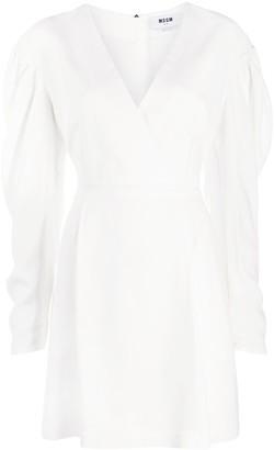 MSGM puff sleeve A-line dress