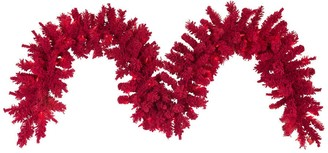 Vickerman 9-foot x 14-inches Flocked Red Garland with 100 Red LED Lights