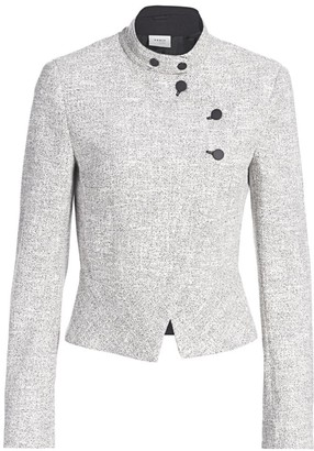 Akris Punto Asymmetric Button Zip Houndstooth Jacket
