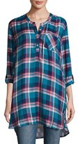 Tolani Joselyn Plaid Tunic w/Printed Back, Teal
