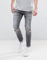 Replay Jondrill Skinny Fit Jeans Grey Ripped Knee Paint Splat