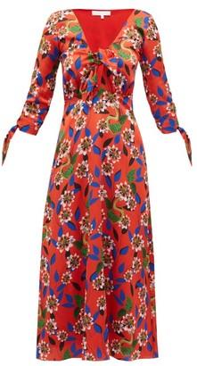 Borgo de Nor Mailou Dreaming Floral-print Satin Dress - Red Multi
