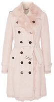 Burberry Toddingwall Shearling Trench Coat - Blush